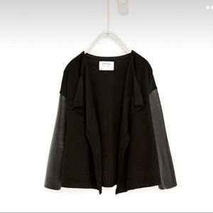 Zara Knitwear Cardigan with Faux Leather Sleeves 7
